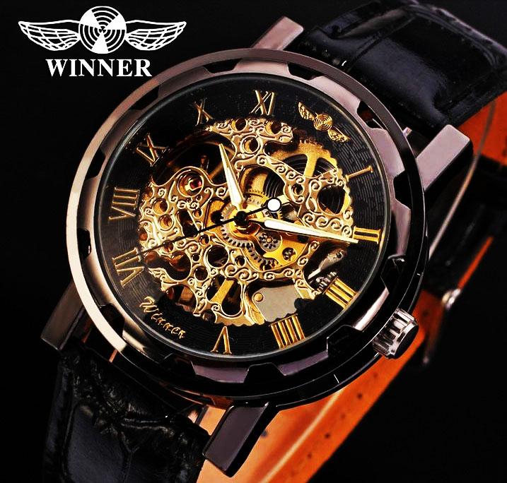 Часы SKELETON WINNER Black d72dfc63318b9